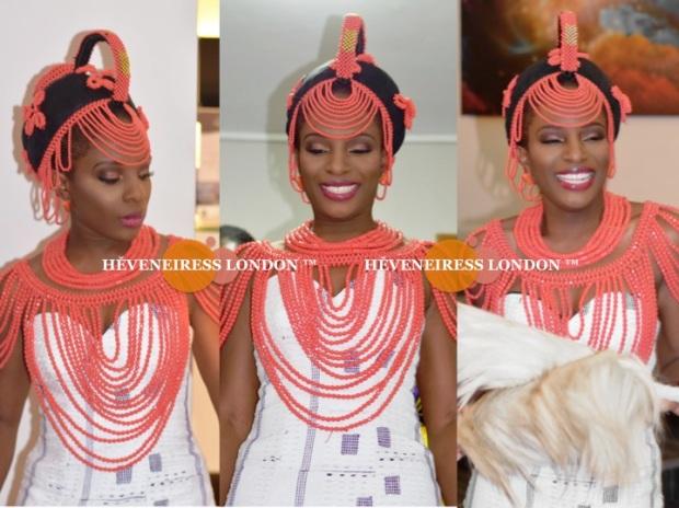 heveneiress london - top london makeup artists - nigerian weddings - bella naija - glamorous makeup - occ lip tar - necklaces - coral beads - traditional weddings - london makeup artists