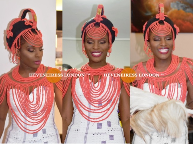 heveneiress london - top london makeup artists - nigerian weddings - bella naija - glamorous makeup - occ lip tar - necklaces - coral beads - traditional weddings - london makeup artists