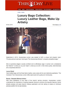 heveneiress London - thisday news paper - makeup artist - leather bags - london - upcoming designers in london - handmade leather bags in london - bridal makeup artist.
